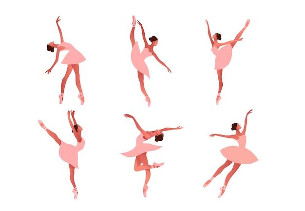 Set ballerina dansen in pointe-schoenen illustratie. schoonheid van klassiek ballet. jonge sierlijke vrouw balletdanser tutu dragen. prestaties, pastelkleuren
