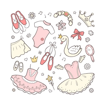 Set balletaccessoires voor kleine ballerina. hand getrokken tutu, pointes, balletjurk, zwaan, kroon. geïsoleerde illustratie op witte achtergrond