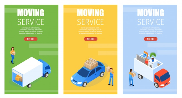 Set banner is written moving service isometric