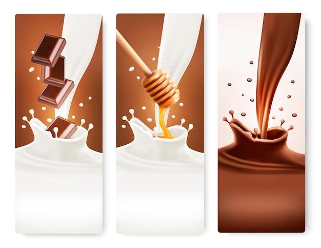 Set banners met chocolade en melk spatten. vector.