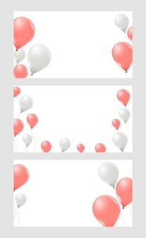 Set banners met roze en witte heliumballonnen