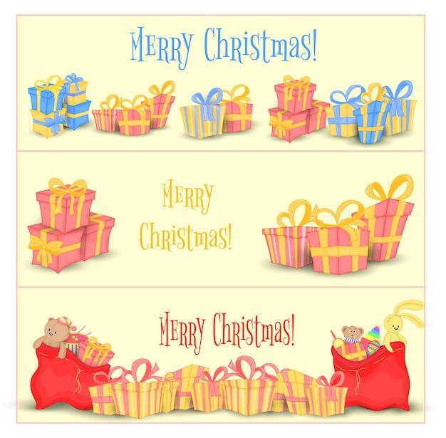 Set banners voor website en kaarten met kerstcadeaus en tassen van de kerstman. leuke dozen voor verjaardag en valentijnsdag. sjablonen voor tekst en groeten. geïsoleerd op een witte achtergrond.