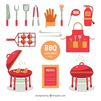Set barbecue-elementen in vlakke stijl