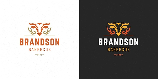 Set barbecue grill steak house-logo's