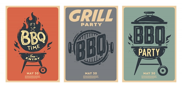 Set barbecue posters. bbq tijd. barbecue feestje. vintage poster.