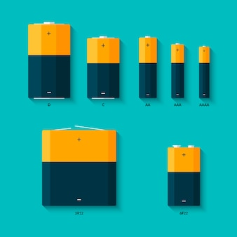 Set batterijen van verschillende afmetingen. aaaa-, aaa-, d-, c- en aa-batterijen. soorten batterijen.