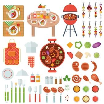 Set bbq gegrild voedsel en kookgerei voor barbecuefeest. platte vector iconen op witte achtergrond.
