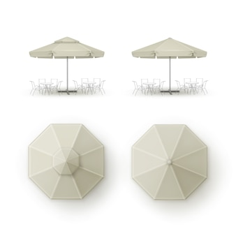 Set beige patio outdoor beach cafe bar paraplu