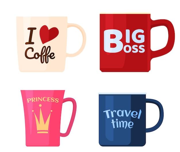 Set bekers met inscripties. grote baas, prinses, ik hou van koffie, reistijd.