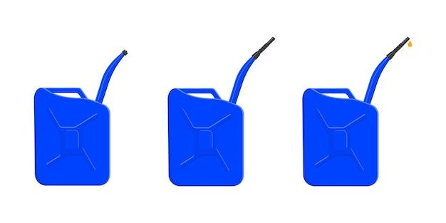 Set benzinecontainers, gasblikken met afsluitdop, tuit en brandstofdruppel. benzine jerrycans geïsoleerd op een witte achtergrond. cartoon vectorillustratie.