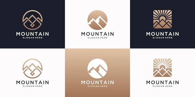 Set berg logo ontwerpsjabloon met luxe concept.