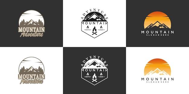 Set berglogo-afbeelding voor avontuur of recreatie met modern concept premium vector