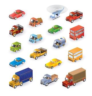 Set bestaande uit voertuigen in de isometrie