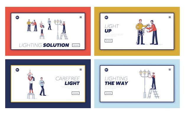 Set bestemmingspagina's met mensen die gloeilampen in slinger, straatverlichting en thuis vervangen.