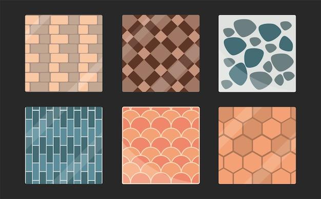Set bestrating tegels bakstenen geometrische minimalistische naadloze patronen