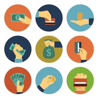 Set betaling illustratie met mensenhanden, geld, bankbiljetten, munten, geldzak, creditcard voor betaling, aankoop, concept