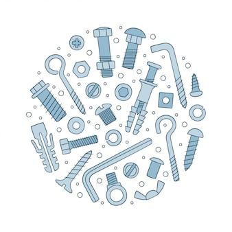 Set bevestigingsmiddelen. bouten, schroeven, moeren, pluggen en klinknagels in doodle stijl.