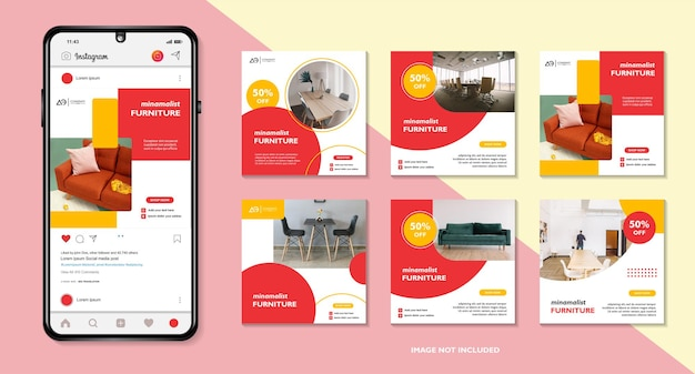 Set bewerkbare postsjabloon voor sociale media of promotie voor moderne meubelverkoop real estate