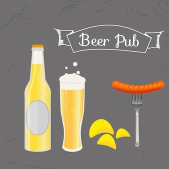 Set bierfles, mok en snack gemaakt in vlakke stijl. licht bier met knapperige chips en worstjes. vectorillustratie voor banners, posters, restaurant en pubmenu.