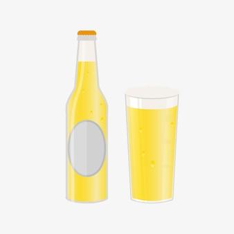 Set bierfles, mokken en glazen. vectorpictogram met alcoholische dranken. witbier, pils, ambachtelijk bier, ale.