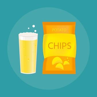 Set bierpul en snack gemaakt in vlakke stijl. licht bier met knapperige chips. vectorillustratie voor banners, posters, restaurant en pubmenu.