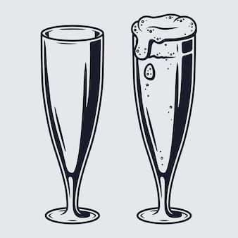 Set bierpul met schuim retro bar en pub menu. tipes van glazen voor beiers oktoberfestival