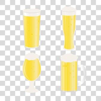 Set bierpullen en glazen op transparante achtergrond. vectorpictogram met alcoholische dranken. witbier, pils, ambachtelijk bier, ale.