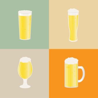 Set bierpullen en glazen. vectorpictogram met alcoholische dranken. witbier, pils, ambachtelijk bier, ale.