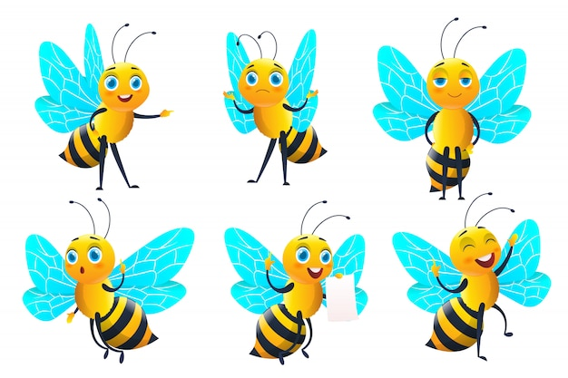 Set bijenkarakter en bijen met honing