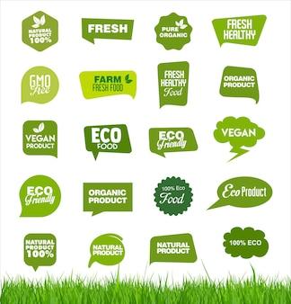Set biologische verse natuurlijke en smakelijke voedseletiketten