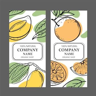 Set biologische winkelsjablonen met ontwerp van fruitschetsen