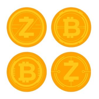 Set bitcoin-logo-sjablonen met plat ontwerp