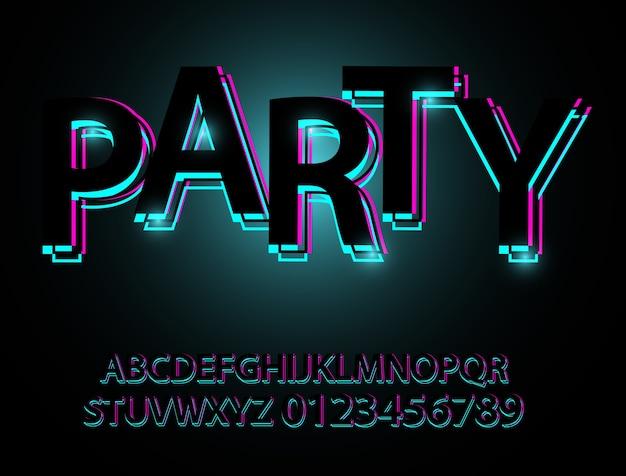 Set black font shapes composition. klassieke stijl nachtclub