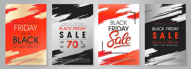 Set black friday sale banners.speciale aanbiedingen met belettering en grunge penseelstreken.sale sjablonen perfect voor prints, flyers, banners, promoties, speciale aanbiedingen, advertenties, coupons en meer.