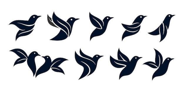 Set bladeren vogel of natuur vogel logo ontwerp premium vector