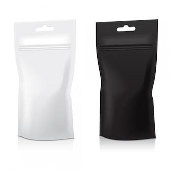 Set blanco folie voedsel doy pack zakje zak verpakking met rits. illustratie. , sjabloon