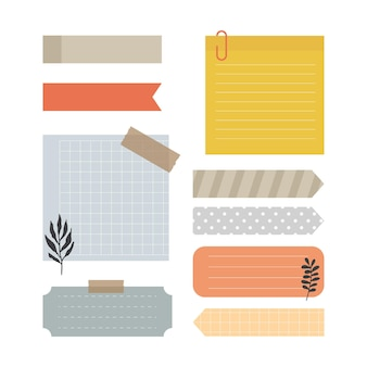Set blanco papieren notities met elementen voor het versieren van planner, notities, memo, vector, illustratie ontwerp.