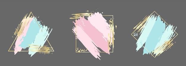 Set blauw roze en gouden penseelstreken in frame ontwerpsjabloon voor banner kaart cover flyer