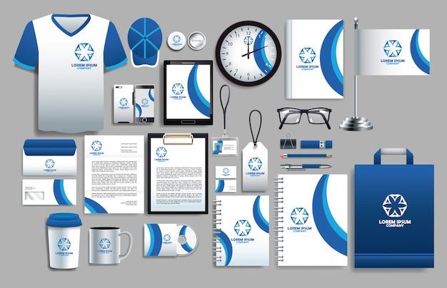 Set blauwe en witte elementen met sjablonen voor briefpapier
