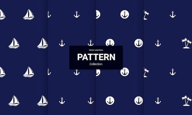 Set blauwe nautische naadloze patronen op witte achtergrond. vector naadloze textuur.