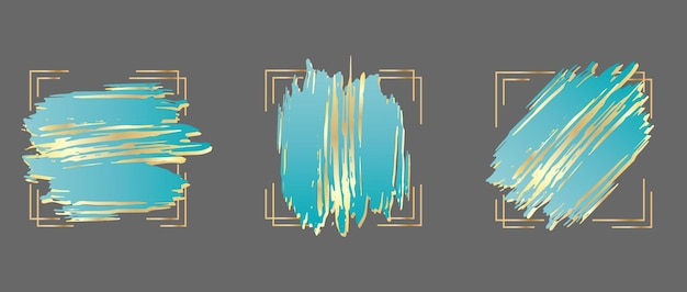 Set blauwe penseelstreken in gouden frame ontwerpsjabloon voor banner kaart cover flyer en logo