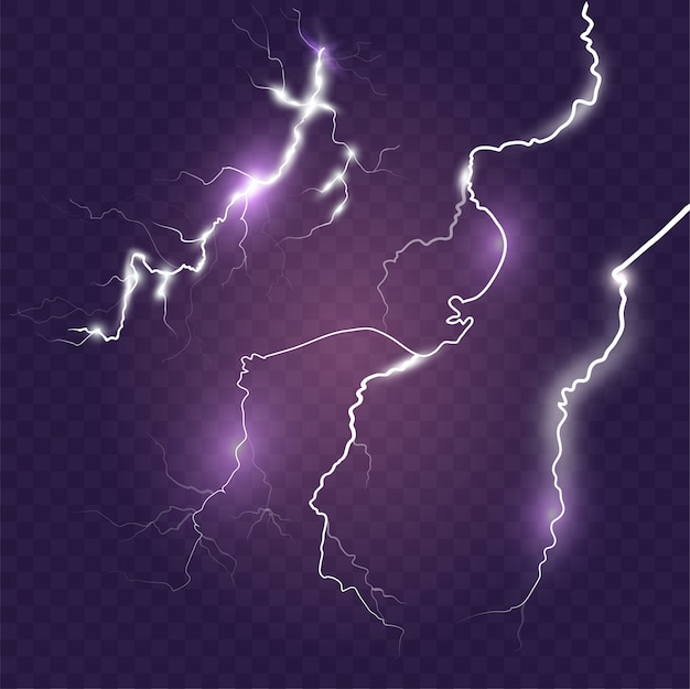 Set bliksemeffecten op blauwe achtergrond. onweer magie en helder bliksemeffect. realistische afbeelding