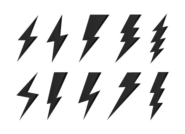 Set bliksemschicht symbolen