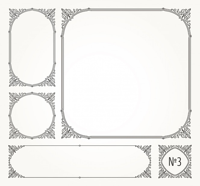 Set bloeit kalligrafische elegante sierkaders en randen - illustratie.