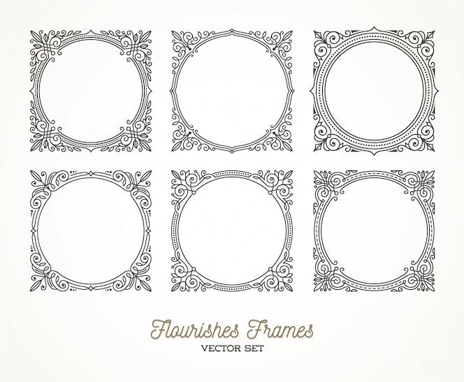 Set bloeit kalligrafische elegante sierlijsten - illustratie.