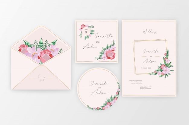 Set bloem bruiloft sieraad concept. bruiloft kaart of uitnodiging ontwerp achtergrond