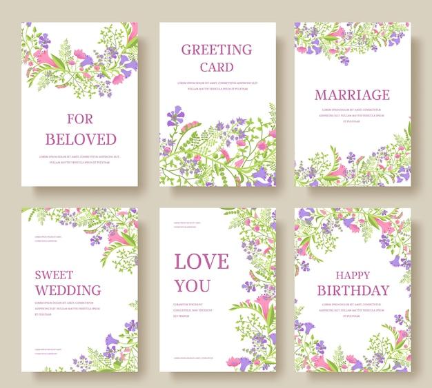 Set bloem uitnodigingskaarten. nodig bruiloft uit. bruiloft achtergrond. bruiloft uitnodigen flyer.