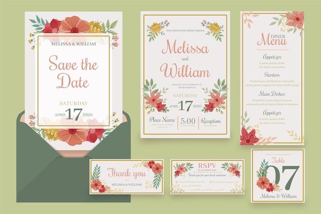 Set bloemen bruiloft briefpapier
