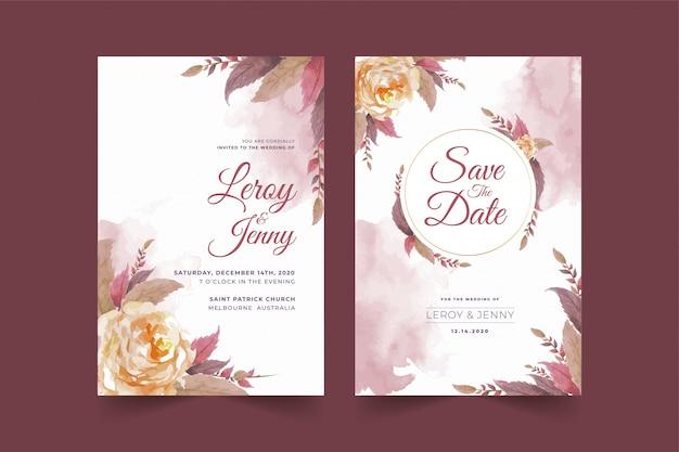 Set bloemen bruiloft uitnodiging kaartsjabloon met roze bloem en bladeren premium vector