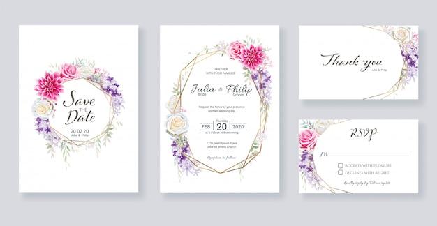 Set bloemen bruiloft uitnodiging kaartsjabloon.